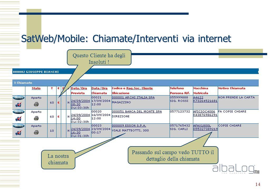 14 SatWeb/Mobile: Chiamate/Interventi via internet La nostra chiamata Questo Cliente ha degli Insoluti .