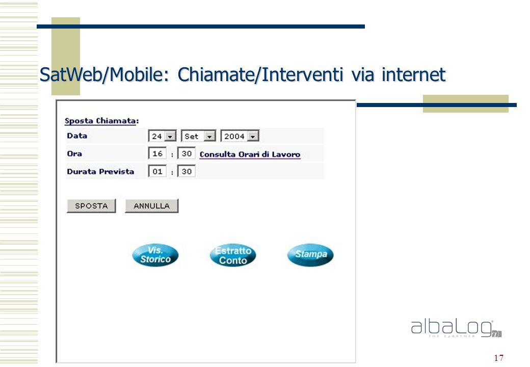 17 SatWeb/Mobile: Chiamate/Interventi via internet