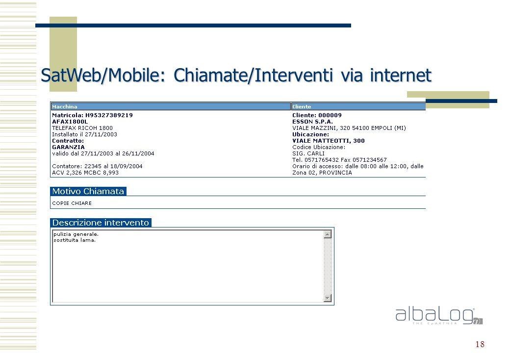 18 SatWeb/Mobile: Chiamate/Interventi via internet