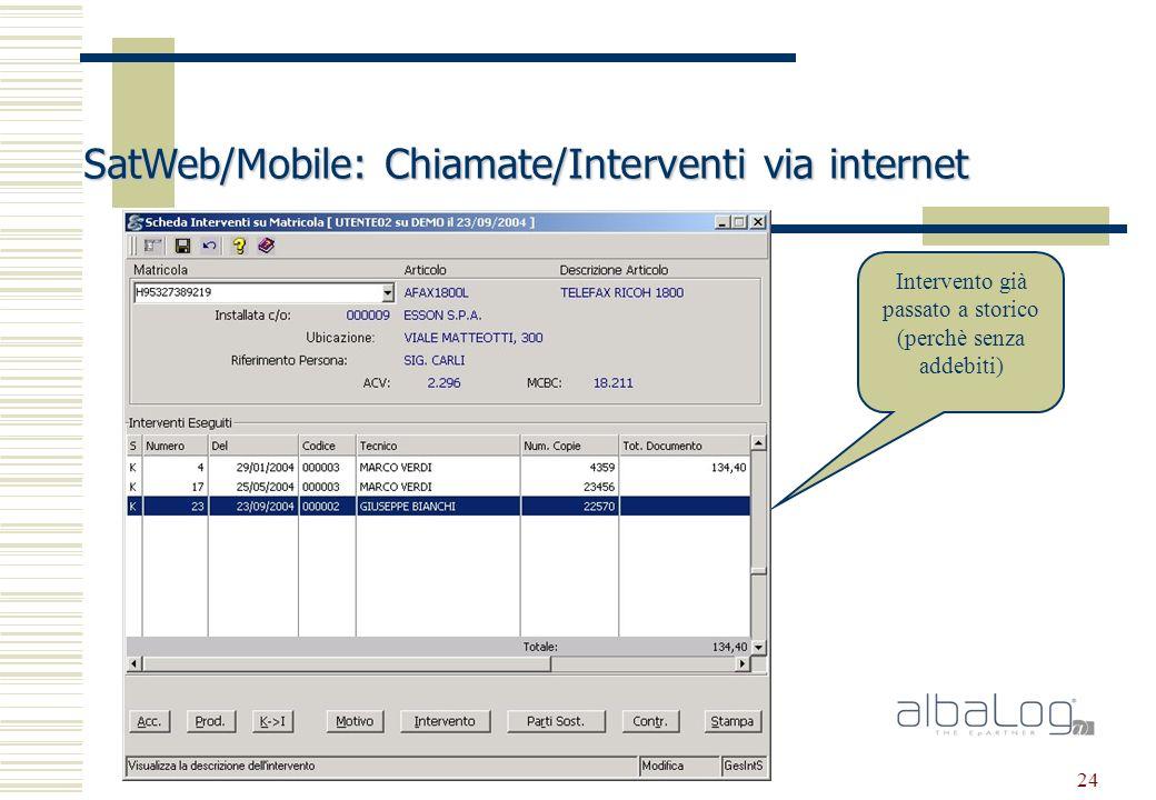 24 SatWeb/Mobile: Chiamate/Interventi via internet Intervento già passato a storico (perchè senza addebiti)