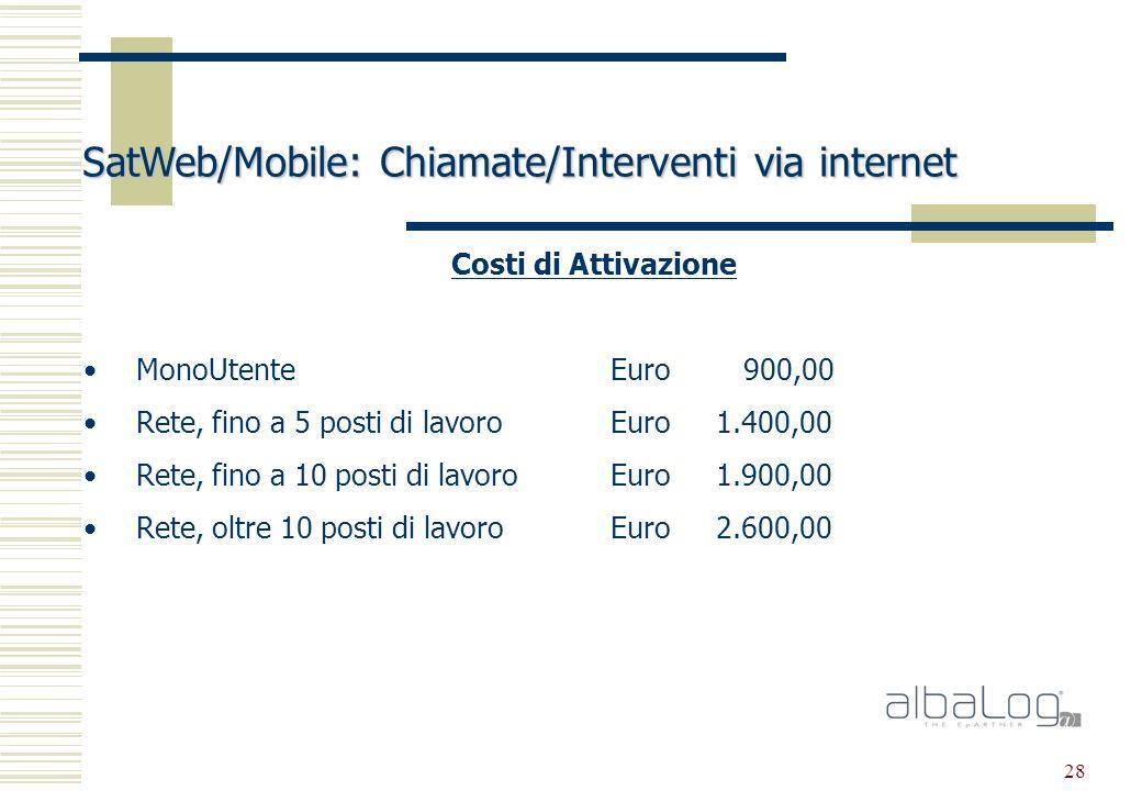 28 SatWeb/Mobile: Chiamate/Interventi via internet Costi di Attivazione MonoUtenteEuro 900,00 Rete, fino a 5 posti di lavoroEuro1.400,00 Rete, fino a 10 posti di lavoroEuro1.900,00 Rete, oltre 10 posti di lavoroEuro2.600,00