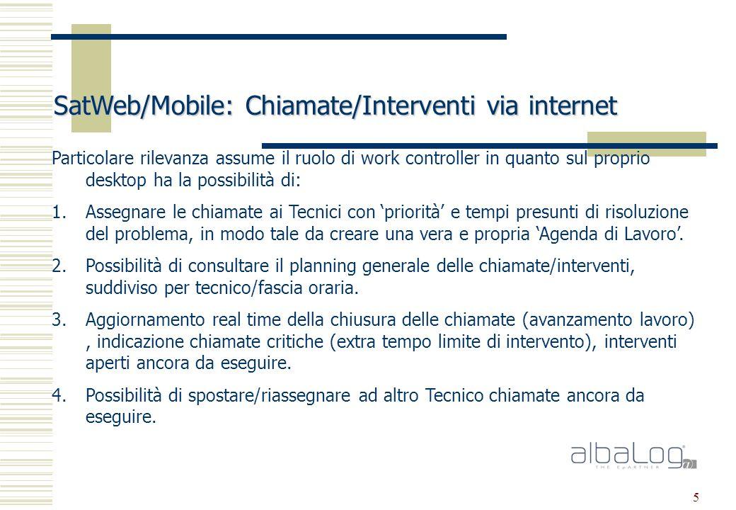 5 SatWeb/Mobile: Chiamate/Interventi via internet Particolare rilevanza assume il ruolo di work controller in quanto sul proprio desktop ha la possibilità di: 1.Assegnare le chiamate ai Tecnici con priorità e tempi presunti di risoluzione del problema, in modo tale da creare una vera e propria Agenda di Lavoro.