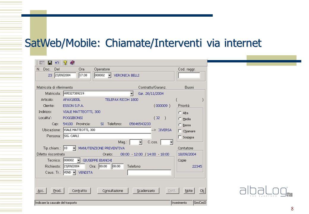 8 SatWeb/Mobile: Chiamate/Interventi via internet