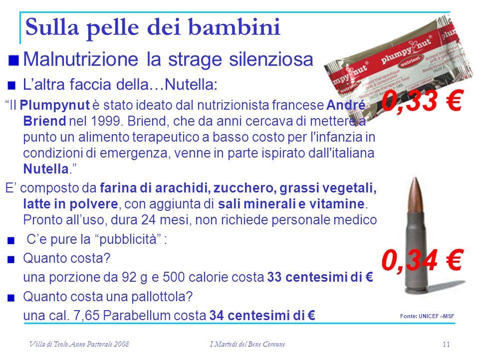 Villa di Teolo Anno Pastorale 2008 I Martedi del Bene Comune 11 Malnutrizione la strage silenziosa Sulla pelle dei bambini Laltra faccia della…Nutella: Il Plumpynut è stato ideato dal nutrizionista francese André Briend nel 1999.