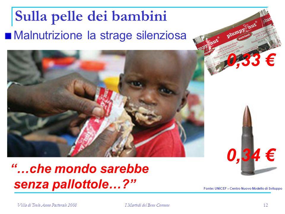 Villa di Teolo Anno Pastorale 2008 I Martedi del Bene Comune 12 Malnutrizione la strage silenziosa Sulla pelle dei bambini Fonte: UNICEF – Centro Nuovo Modello di Sviluppo 0,33 0,34 …che mondo sarebbe senza pallottole…