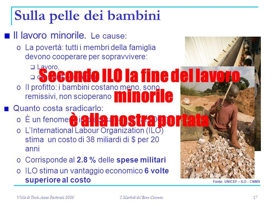 Villa di Teolo Anno Pastorale 2008 I Martedi del Bene Comune 17 Sulla pelle dei bambini Il lavoro minorile.