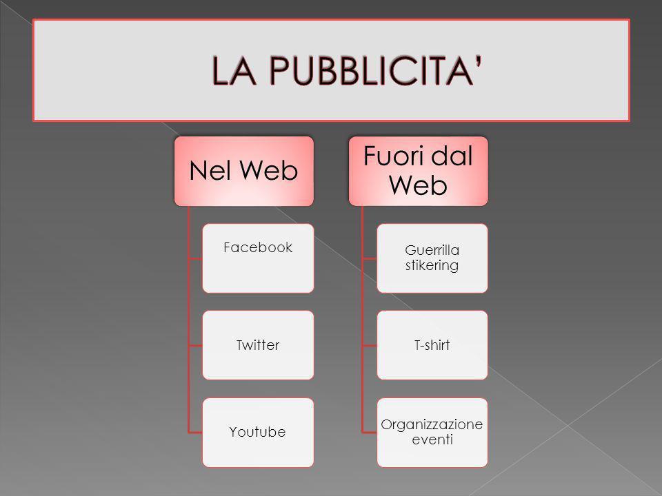 Nel Web Facebook TwitterYoutube Fuori dal Web Guerrilla stikering T-shirt Organizzazione eventi