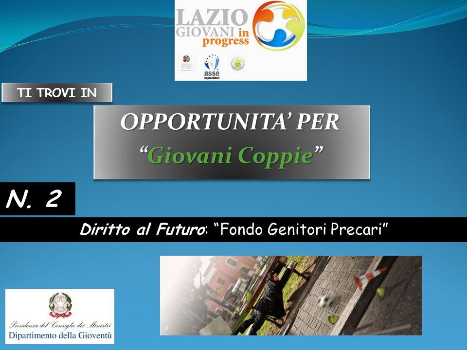 OPPORTUNITA PER Giovani CoppieGiovani Coppie OPPORTUNITA PER Giovani CoppieGiovani Coppie Diritto al Futuro: Fondo Genitori Precari N.