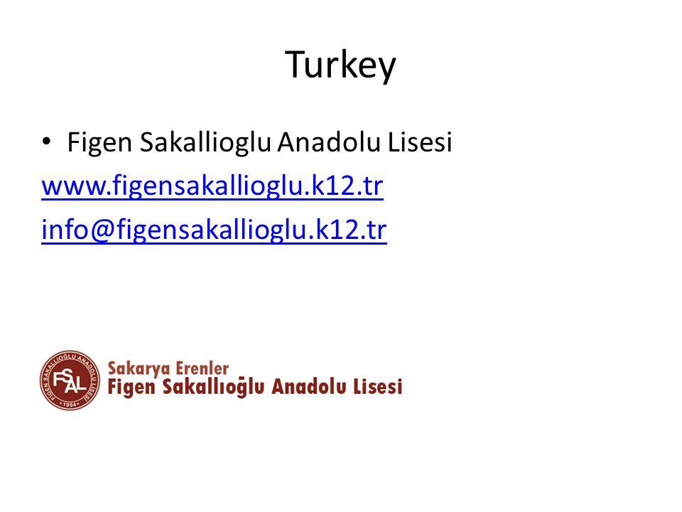 Turkey Figen Sakallioglu Anadolu Lisesi www.figensakallioglu.k12.tr info@figensakallioglu.k12.tr