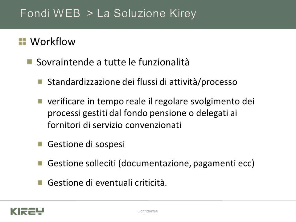 Workflow Sovraintende a tutte le funzionalità Standardizzazione dei flussi di attività/processo verificare in tempo reale il regolare svolgimento dei