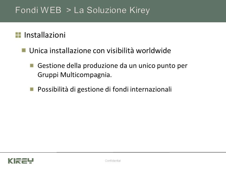 Gestione Documentale Integrazione con sistemi di gruppo Sistema built-in (Kirey Document Management) Gestore Stampe Integrazione con sistema compagnia Produzione diretta di file per posta massiva Generazione diretta Confidential