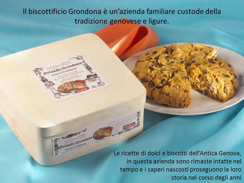 Le ricette di dolci e biscotti dellAntica Genova, in questa azienda sono rimaste intatte nel tempo e i saperi nascosti proseguono la loro storia nel corso degli anni Il biscottificio Grondona è unazienda familiare custode della tradizione genovese e ligure.