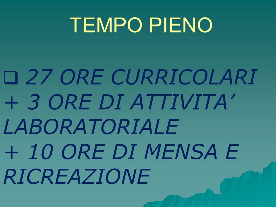 TEMPO PIENO 27 ORE CURRICOLARI + 3 ORE DI ATTIVITA LABORATORIALE + 10 ORE DI MENSA E RICREAZIONE