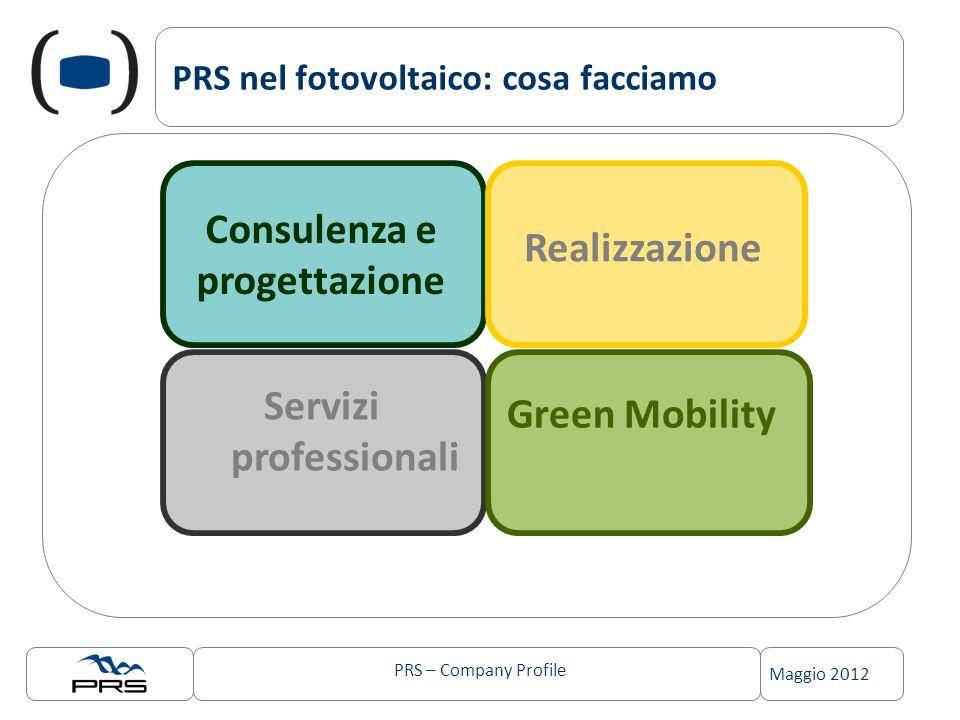 PRS – Company Profile Maggio 2012 PRS nel fotovoltaico: cosa facciamo Consulenza e progettazione Servizi professionali Realizzazione Green Mobility