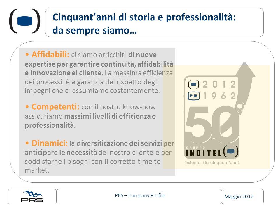 PRS – Company Profile Maggio 2012 Cinquantanni di storia e professionalità: da sempre siamo… Affidabili: ci siamo arricchiti di nuove expertise per garantire continuità, affidabilità e innovazione al cliente.