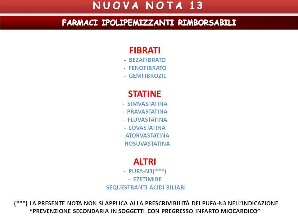 FIBRATI - BEZAFIBRATO - FENOFIBRATO - GEMFIBROZIL STATINE - SIMVASTATINA - PRAVASTATINA - FLUVASTATINA - LOVASTATINA - ATORVASTATINA - ROSUVASTATINA ALTRI - PUFA-N3(***) - EZETIMIBE -SEQUESTRANTI ACIDI BILIARI -(***) LA PRESENTE NOTA NON SI APPLICA ALLA PRESCRIVIBILITÀ DEI PUFA-N3 NELLINDICAZIONE PREVENZIONE SECONDARIA IN SOGGETTI CON PREGRESSO INFARTO MIOCARDICO