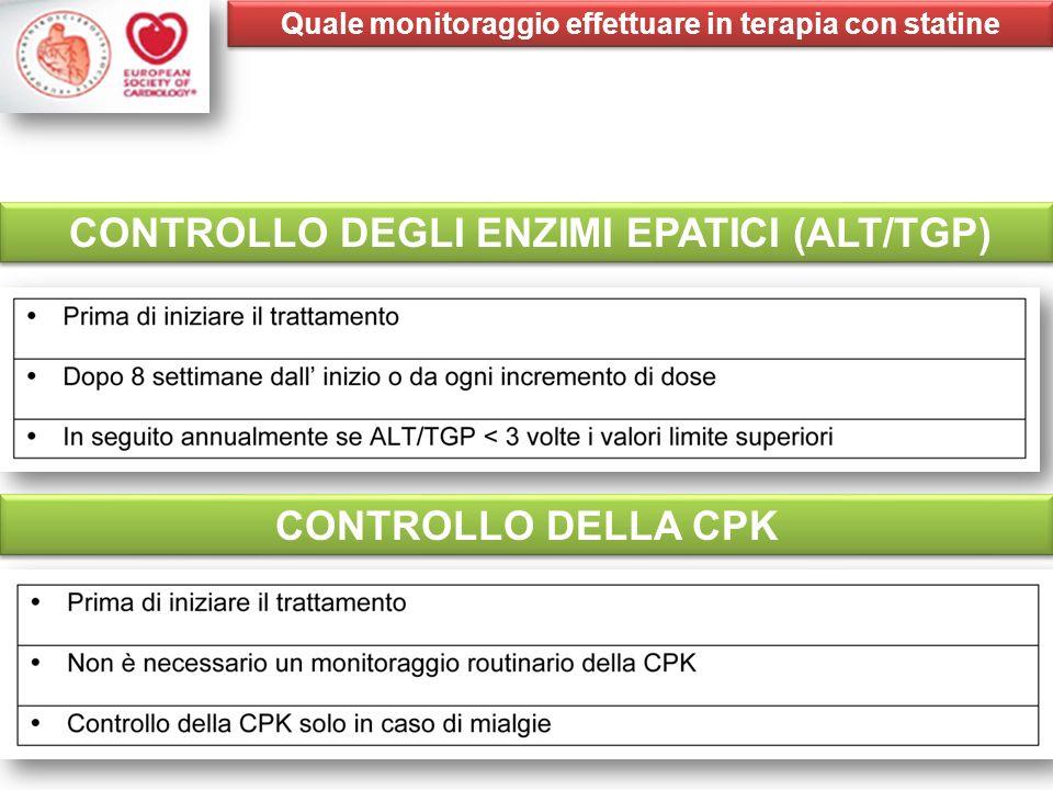 CONTROLLO DEGLI ENZIMI EPATICI (ALT/TGP) CONTROLLO DELLA CPK Quale monitoraggio effettuare in terapia con statine