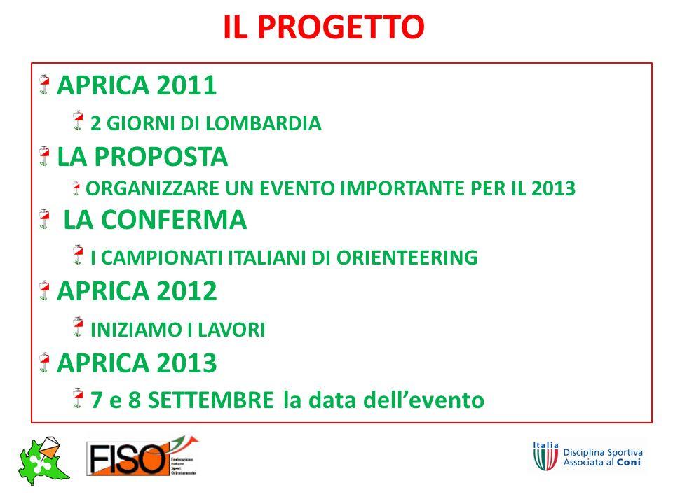 APRICA 2011 2 GIORNI DI LOMBARDIA LA PROPOSTA ORGANIZZARE UN EVENTO IMPORTANTE PER IL 2013 LA CONFERMA I CAMPIONATI ITALIANI DI ORIENTEERING APRICA 2012 INIZIAMO I LAVORI APRICA 2013 7 e 8 SETTEMBRE la data dellevento IL PROGETTO