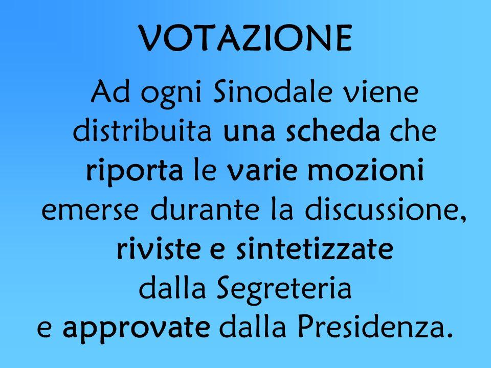 VOTAZIONE Ad ogni Sinodale viene distribuita una scheda che riporta le varie mozioni emerse durante la discussione, riviste e sintetizzate dalla Segreteria e approvate dalla Presidenza.