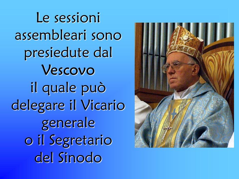 Le sessioni assembleari sono presiedute dal Vescovo il quale può delegare il Vicario generale o il Segretario del Sinodo