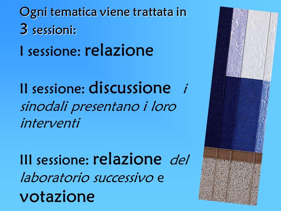 Ogni tematica viene trattata in 3 sessioni: I sessione: relazione II sessione: discussione i sinodali presentano i loro interventi III sessione: relaz