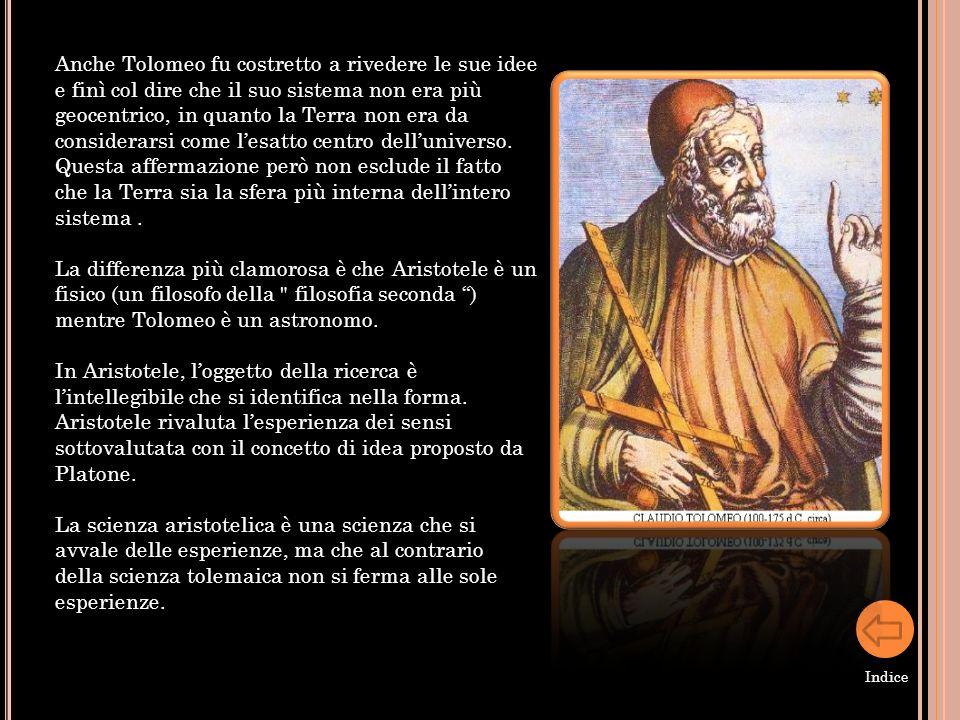 Anche Tolomeo fu costretto a rivedere le sue idee e finì col dire che il suo sistema non era più geocentrico, in quanto la Terra non era da considerar