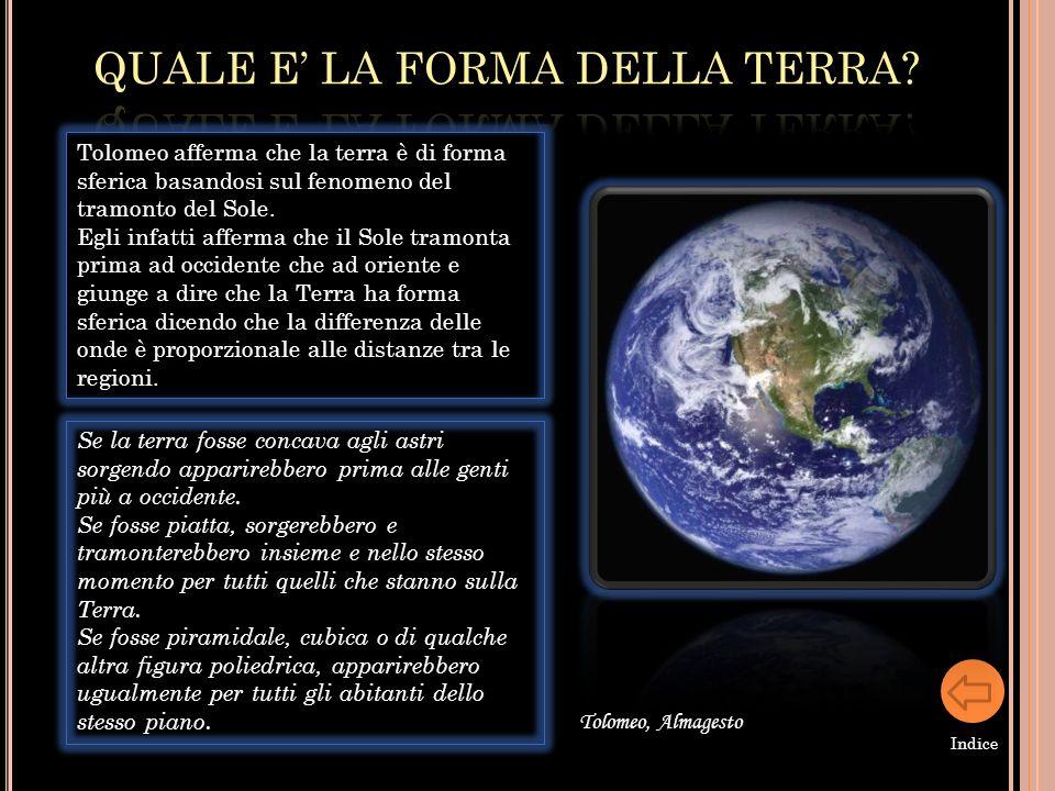 Tolomeo afferma che la terra è di forma sferica basandosi sul fenomeno del tramonto del Sole. Egli infatti afferma che il Sole tramonta prima ad occid