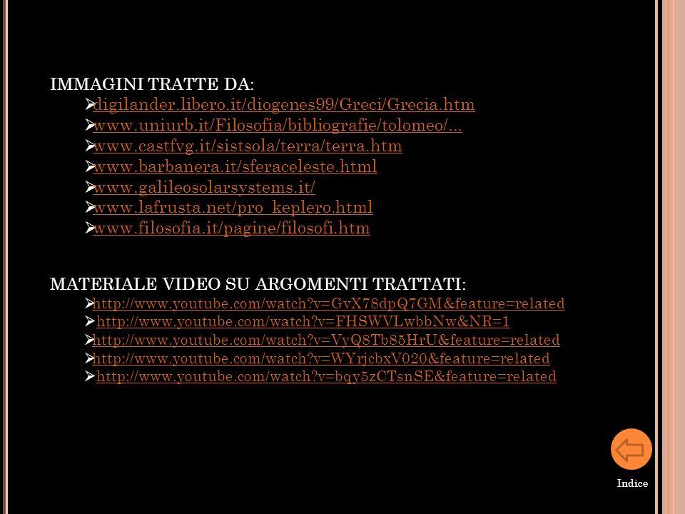 IMMAGINI TRATTE DA: digilander.libero.it/diogenes99/Greci/Grecia.htm www.uniurb.it/Filosofia/bibliografie/tolomeo/... www.castfvg.it/sistsola/terra/te