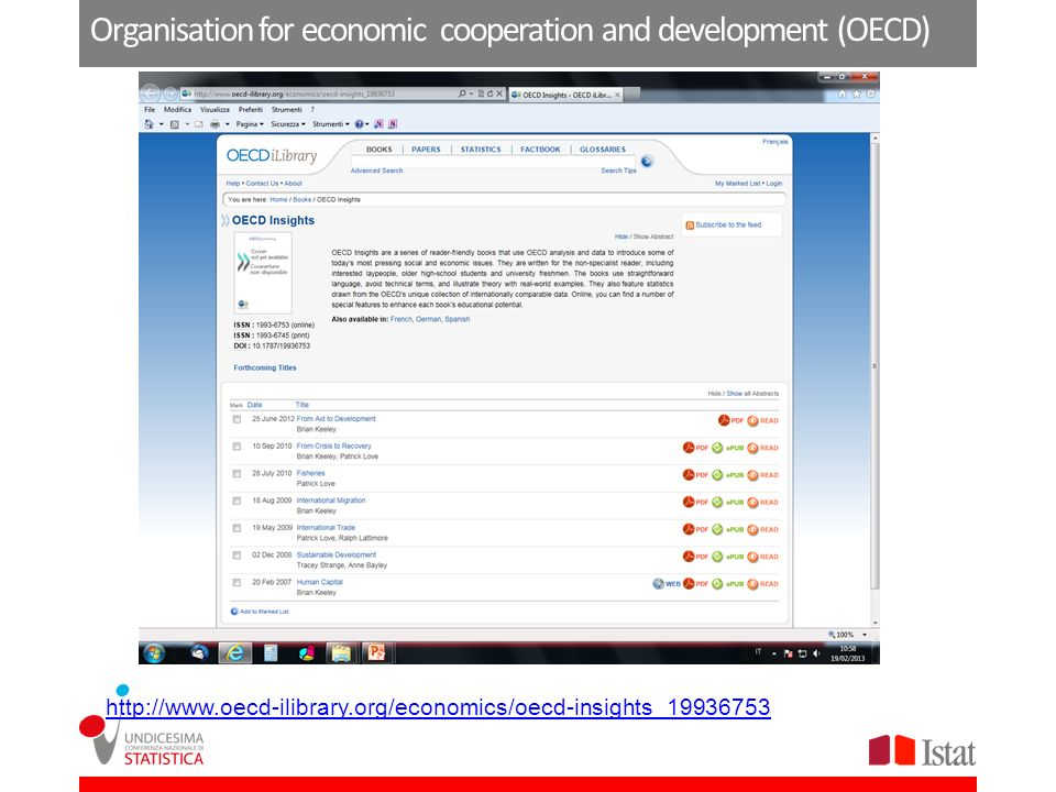 Organisation for economic cooperation and development (OECD) http://www.oecd-ilibrary.org/economics/oecd-insights_19936753