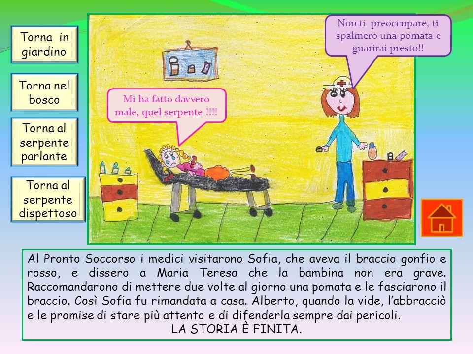 Al Pronto Soccorso i medici visitarono Sofia, che aveva il braccio gonfio e rosso, e dissero a Maria Teresa che la bambina non era grave. Raccomandaro