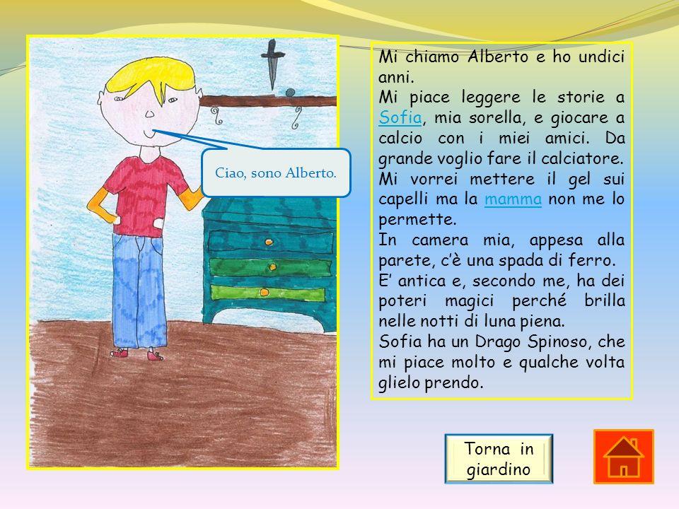 Mi chiamo Alberto e ho undici anni. Mi piace leggere le storie a Sofia, mia sorella, e giocare a calcio con i miei amici. Da grande voglio fare il cal