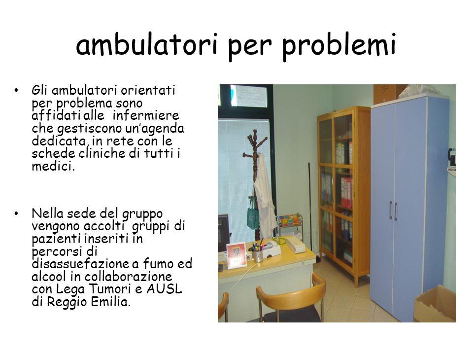 ambulatori per problemi Gli ambulatori orientati per problema sono affidati alle infermiere che gestiscono unagenda dedicata, in rete con le schede cliniche di tutti i medici.
