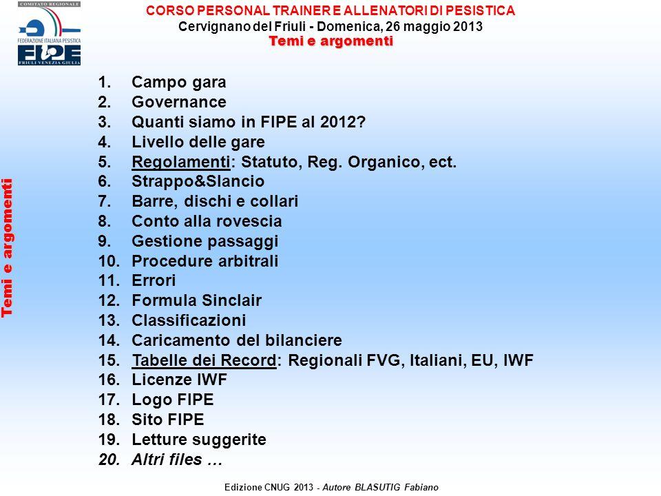 1. Campo gara 2. Governance 3. Quanti siamo in FIPE al 2012.