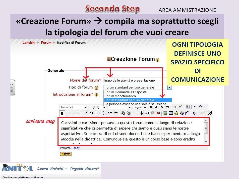 «Creazione Forum» compila ma soprattutto scegli la tipologia del forum che vuoi creare AREA AMMISTRAZIONE OGNI TIPOLOGIA DEFINISCE UNO SPAZIO SPECIFIC