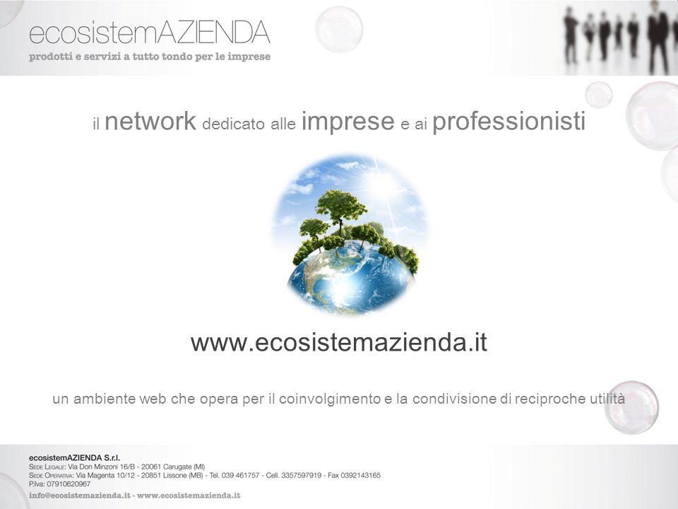 il network dedicato alle imprese e ai professionisti www.ecosistemazienda.it un ambiente web che opera per il coinvolgimento e la condivisione di reciproche utilità il business è adesso