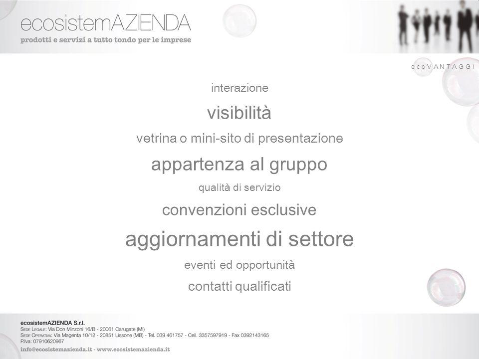 interazione visibilità vetrina o mini-sito di presentazione appartenza al gruppo qualità di servizio convenzioni esclusive aggiornamenti di settore ev