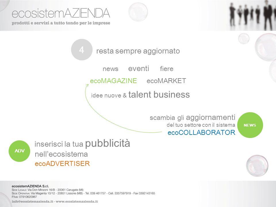 resta sempre aggiornato news eventi fiere ecoMAGAZINE ecoMARKET idee nuove & talent business scambia gli aggiornamenti del tuo settore con il sistema