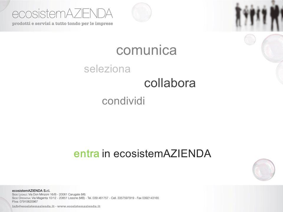comunica seleziona collabora condividi entra in ecosistemAZIENDA