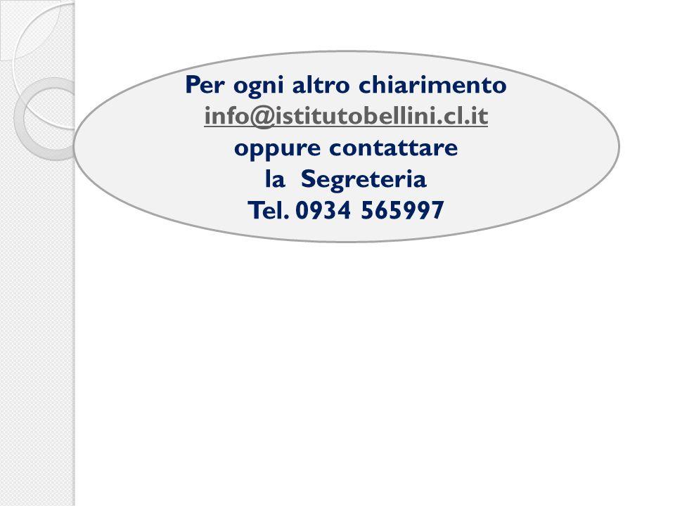 Per ogni altro chiarimento info@istitutobellini.cl.it oppure contattare la Segreteria Tel.