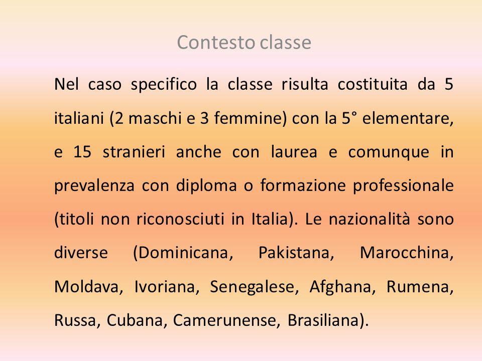 Contesto classe Nel caso specifico la classe risulta costituita da 5 italiani (2 maschi e 3 femmine) con la 5° elementare, e 15 stranieri anche con la