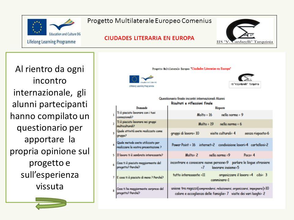 Progetto Multilaterale Europeo Comenius CIUDADES LITERARIA EN EUROPA Al rientro da ogni incontro internazionale, gli alunni partecipanti hanno compila