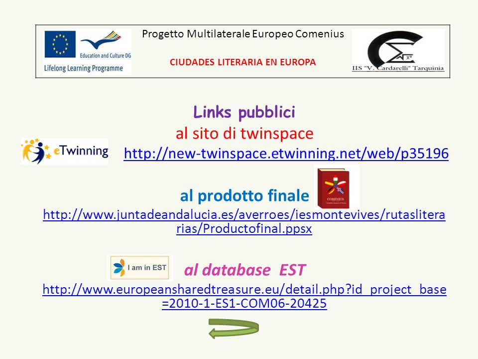 Links pubblici al sito di twinspace http://new-twinspace.etwinning.net/web/p35196 al prodotto finale http://www.juntadeandalucia.es/averroes/iesmontevives/rutaslitera rias/Productofinal.ppsx al database EST http://www.europeansharedtreasure.eu/detail.php id_project_base =2010-1-ES1-COM06-20425 Progetto Multilaterale Europeo Comenius CIUDADES LITERARIA EN EUROPA