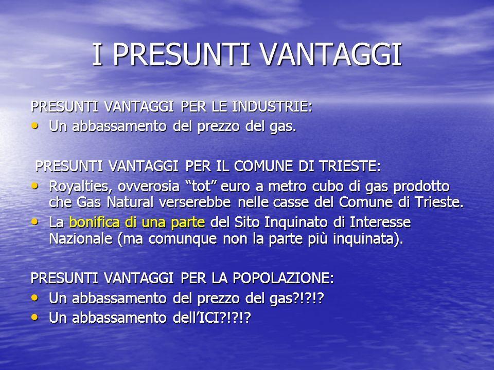 I PRESUNTI VANTAGGI PRESUNTI VANTAGGI PER LE INDUSTRIE: Un abbassamento del prezzo del gas.
