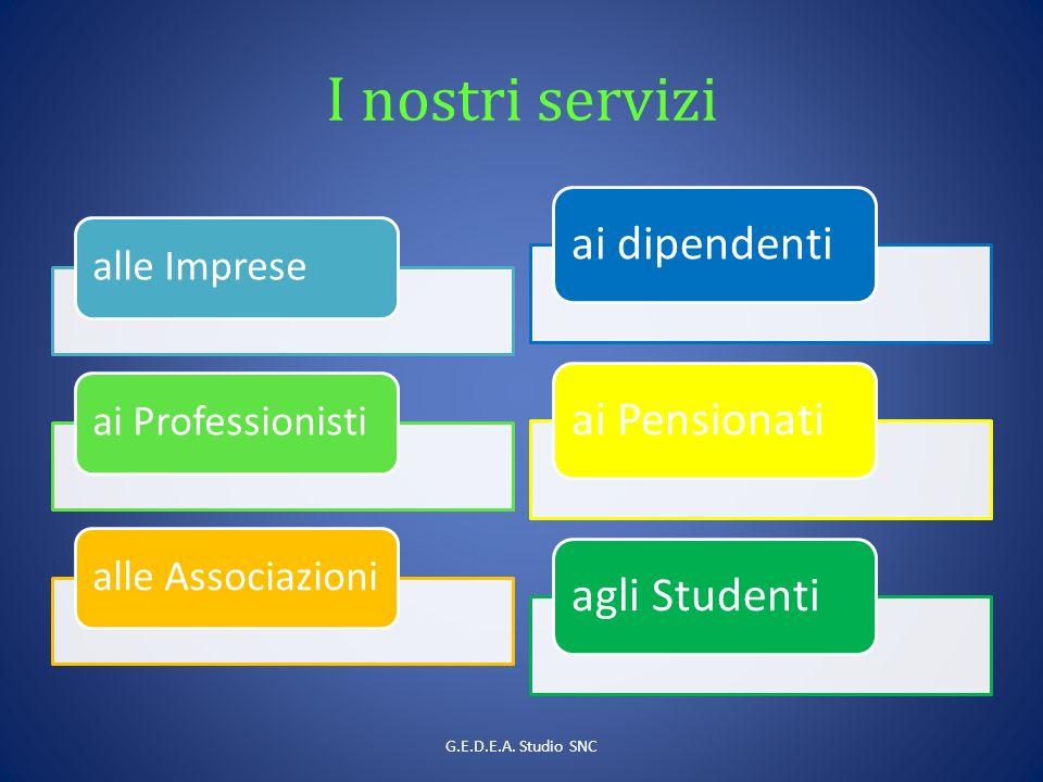 I nostri servizi alle Impreseai Professionistialle Associazioni ai dipendentiai Pensionatiagli Studenti G.E.D.E.A.