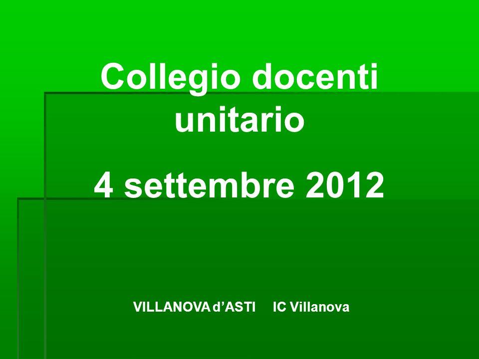 Collegio docenti unitario 4 settembre 2012 VILLANOVA dASTI IC Villanova