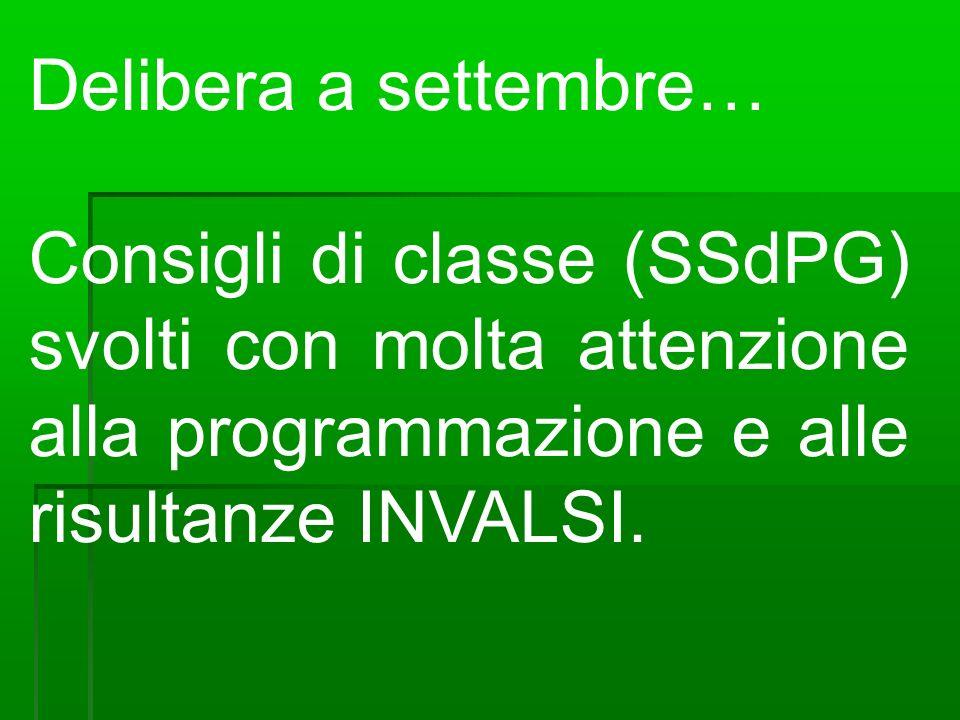 Delibera a settembre… Consigli di classe (SSdPG) svolti con molta attenzione alla programmazione e alle risultanze INVALSI.