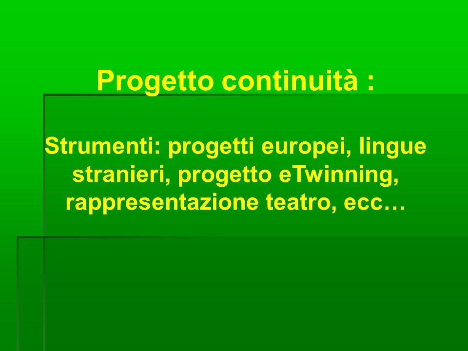 Progetto continuità : Strumenti: progetti europei, lingue stranieri, progetto eTwinning, rappresentazione teatro, ecc…