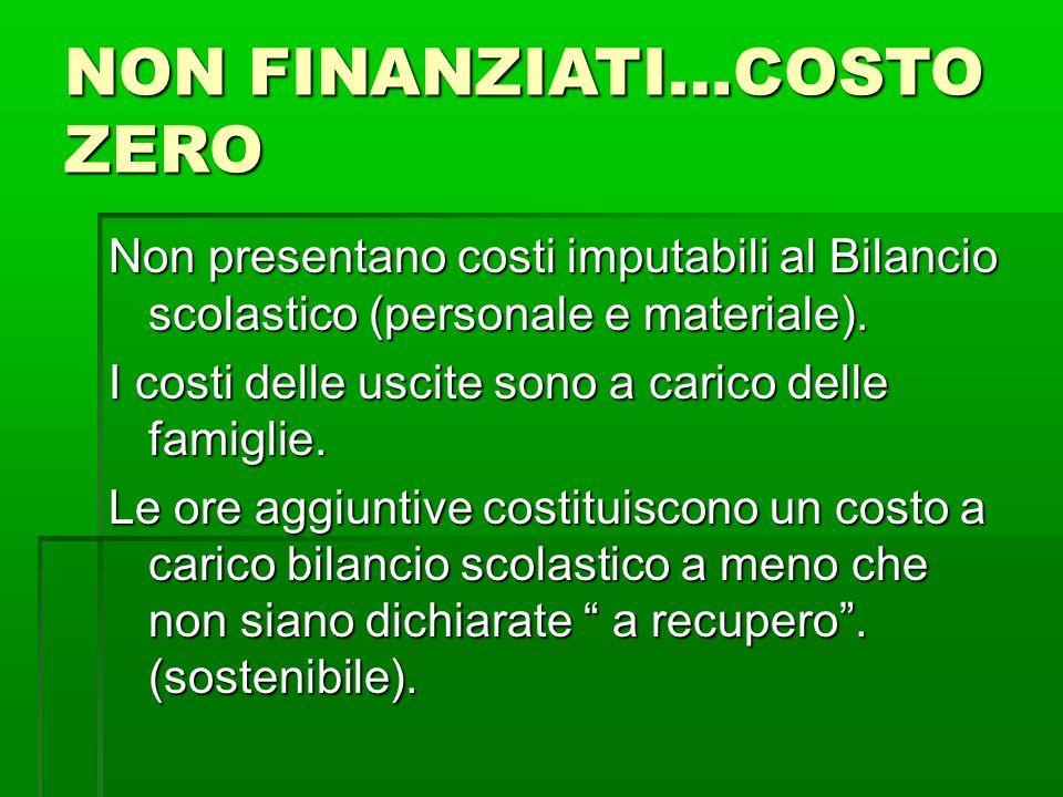 NON FINANZIATI…COSTO ZERO Non presentano costi imputabili al Bilancio scolastico (personale e materiale).