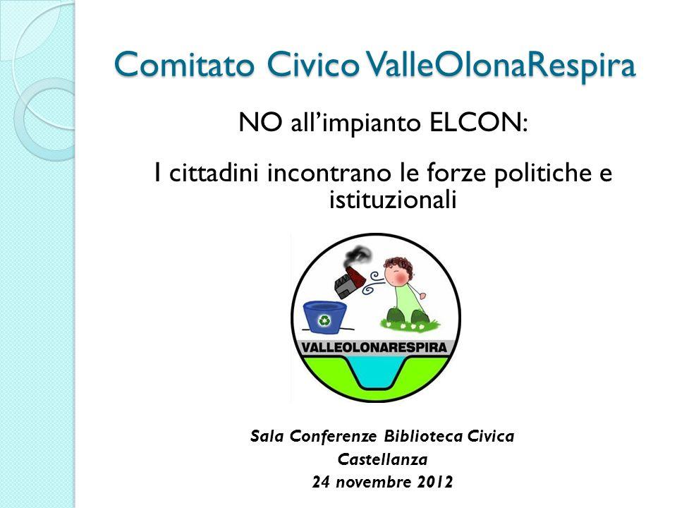 Comitato Civico ValleOlonaRespira NO allimpianto ELCON: I cittadini incontrano le forze politiche e istituzionali Sala Conferenze Biblioteca Civica Castellanza 24 novembre 2012