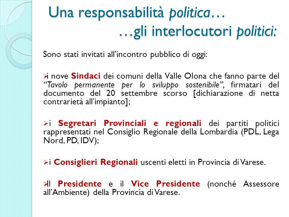Una responsabilità politica… …gli interlocutori politici: Sono stati invitati allincontro pubblico di oggi: i nove Sindaci dei comuni della Valle Olon